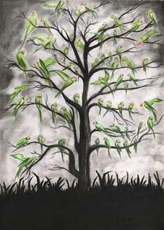 Leaves (ART_3675_23670) - Handpainted Art Painting - 16in X 20in (Framed)