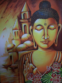 Lord budha spreading his blessing (ART_2794_23687) - Handpainted Art Painting - 16in X 24in