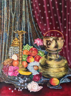 Puja Ghar Still Life Fruits and Puja (worship) Materials (ART_3639_23662) - Handpainted Art Painting - 36in X 48in