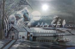 Evening Moonlight Landscape (ART_3714_23792) - Handpainted Art Painting - 22in X 14in