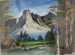 Beautiful Landscape Mountain with Lakeview (ART_3714_23790) - Handpainted Art Painting - 15in X 11in
