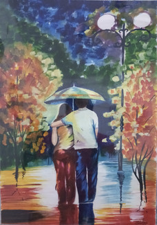 Couples at Rainfall (ART_3714_23787) - Handpainted Art Painting - 16in X 22in