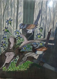 Beautiful Loving Birdie (ART_3714_23784) - Handpainted Art Painting - 11in X 15in