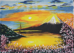 Blue Sky Sunset on Volcano with Flowers (ART_3714_23795) - Handpainted Art Painting - 23in X 30in