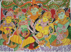 Madhubani Lord Krishna with Dancing Gopi (ART_3714_23793) - Handpainted Art Painting - 28in X 20in
