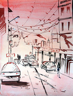 Landscape Art 02 - 07in X 11in,ART_KAPL26_0711,Mixed Media,Landscape,Buildings,Roads,Daily Life,Paper,Artist Kankana Pal - Buy Paintings Online in India.