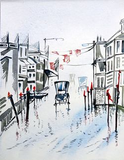 Landscape Art 03 - 07in X 11in,ART_KAPL27_0711,Mixed Media,Landscape,Buildings,Roads,Daily Life,Paper,Artist Kankana Pal - Buy Paintings Online in India.
