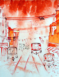 Landscape Art 05 - 07in X 11in,ART_KAPL29_0711,Mixed Media,Landscape,Buildings,Roads,Daily Life,Paper,Artist Kankana Pal - Buy Paintings Online in India.