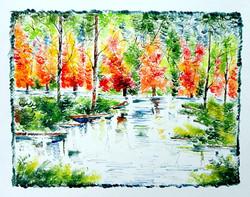 Scenery Art 01 - 13in X 11in,ART_KAPL33_1311,Mixed Media,Fingerprint work,Houses,Tents,Landscape,Nature,Tree,Waterfalls,,Artist Kankana Pal - Buy Paintings Online in India.