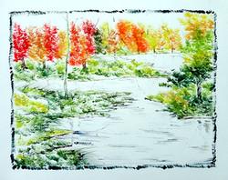 Scenery Art 02 - 13in X 11in,ART_KAPL34_1311,Mixed Media,Fingerprint work,Houses,Tents,Landscape,Nature,Tree,Waterfalls,,Artist Kankana Pal - Buy Paintings Online in India.