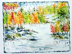 Scenery Art 03 - 13in X 11in,ART_KAPL35_1311,Mixed Media,Fingerprint work,Houses,Tents,Landscape,Nature,Tree,Waterfalls,,Artist Kankana Pal - Buy Paintings Online in India.