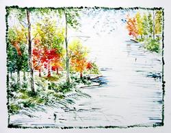 Scenery Art 04 - 13in X 11in,ART_KAPL36_1311,Mixed Media,Fingerprint work,Houses,Tents,Landscape,Nature,Tree,Waterfalls,,Artist Kankana Pal - Buy Paintings Online in India.