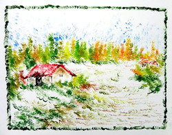 Scenery Art 06 - 13in X 11in,ART_KAPL38_1311,Mixed Media,Fingerprint work,Houses,Tents,Landscape,Nature,Tree,Waterfalls,Artist Kankana Pal - Buy Paintings Online in India.