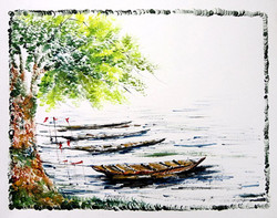 Scenery Art 10 - 13in X 11in,ART_KAPL42_1311,Mixed Media,Water,River Bank,Boats,Fingerprint work,Houses,Tents,Landscape,Nature,Tree,Waterfalls,Artist Kankana Pal - Buy Paintings Online in India.