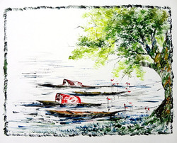 Scenery Art 11 - 13in X 11in,ART_KAPL43_1311,Mixed Media,Water,River Bank,Boats,Fingerprint work,Houses,Tents,Landscape,Nature,Tree,Waterfalls,Artist Kankana Pal - Buy Paintings Online in India.