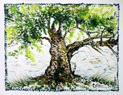 Scenery Art 12 - 13in X 11in,ART_KAPL44_1311,Mixed Media,Fingerprint work,Houses,Tents,Landscape,Nature,Tree,Big Tree,Artist Kankana Pal - Buy Paintings Online in India.