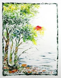 Scenery Art 13 - 11in X 13in,ART_KAPL45_1113,Mixed Media,Fingerprint work,Houses,Tents,Landscape,Nature,Tree,Artist Kankana Pal - Buy Paintings Online in India.