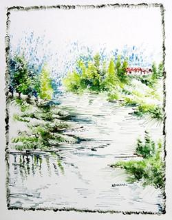 Scenery Art 14 - 11in X 13in,ART_KAPL46_1113,Mixed Media,Fingerprint work,Houses,Tents,Landscape,Nature,Tree,Artist Kankana Pal - Buy Paintings Online in India.