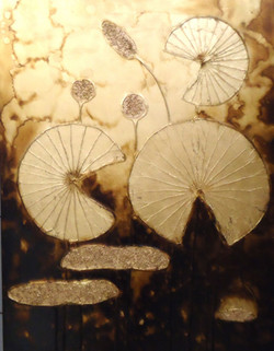 Gold Flowers - 29in X 39in(Stretcher Framed),ART_SYM136_2939,Acrylic Colors,Community Artists Group,Museum Quality - 100% Handpainted,Florals,Flower,Shinning Flower, - Buy Online Paintings in India