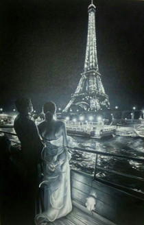 Couple at Eiffel Tower - 32in X 48in,ART_PIJN68_3248,Acrylic Colors,Artist Pallavi Jain,Museum Quality - 100% Handpainted Buy Paintings Online in India,Couple,Lovers