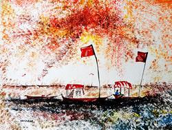 Riverside Boat02 - 12in X 09in,ART_KAPL52_129,Mixed Media,Landscape,river,boat,Artist Kankana Pal - Buy Paintings Online in India.
