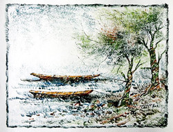 Boat and Tree02 - 13in X 10in,ART_KAPL54_1310,Mixed Media,Landscape,river,boat,Artist Kankana Pal - Buy Paintings Online in India.
