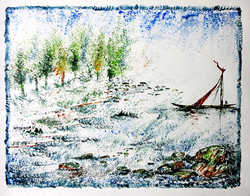 Boat and Tree03 - 13in X 10in,ART_KAPL56_1310,Mixed Media,Landscape,river,boat,Artist Kankana Pal - Buy Paintings Online in India.