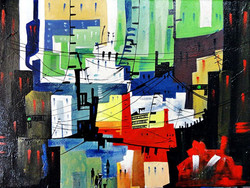 Landscape Art 2 - 20in X 16in,ART_KAPL82_2016,Kankana Paul,Museum Quality - 100% Handpainted Abstract City ,building- Buy Paintings online in india