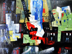 Landscape Art 3 - 20in X 16in,ART_KAPL83_2016,Kankana Paul,Museum Quality - 100% Handpainted Abstract City ,building- Buy Paintings online in india