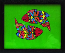 Pisces - 10in X 08in (Border Framed),ART_SASA13_1008,Acrylic Colors,Artist Suvarna Sonkia,Horoscope,Astrology - Buy paintings Online in india