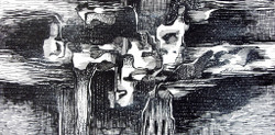 Abstract Series 06 - 13in X 07in,ART_AKRR56_1307,Ink Color,Artist Ashok Revankar,Abstract Art,Abstract Black and White paintings Paintings - Buy painting online in india