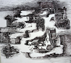 Abstract Series 15 - 14in X 11in,ART_AKRR65_1411,Ink Color,Artist Ashok Revankar,Abstract Art,Abstract Black and White paintings Paintings - Buy painting online in india