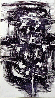 Abstract Series 38 - 07in X 18in,ART_AKRR88_0718,Ink Color,Artist Ashok Revankar,Abstract Art,Abstract Black and White paintings Paintings - Buy painting online in india