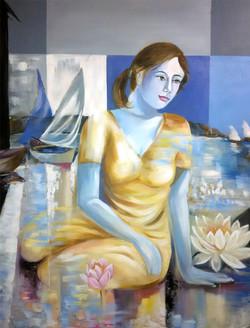 lady, girl ,woman, girl with lotus, lotus, flower , blossom, girl with blossom, dream, dreamy girl