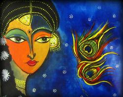 Radha - 24in X  18in (Canvas Board),ART_RIAA14_2418,Acrylic Colors,Artist RAJNI AYAPILLA ,Museum Quality - 100% Handpainted,Radha - Buy Online painting in India