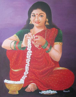 Simplicity - 36in X 48in ,ART_VH01_3648,Acrylic Colors, Lady Making garland,by Vishwanadh, Museum Quality - 100% Handpainted