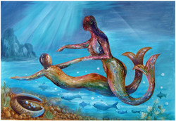 Couple - 36in X 24in ,ART_VH06_3624,Acrylic Colors,Figurative,Romance,Love at Sea,Artist Vishwanadh, Museum Quality - 100% Handpainted