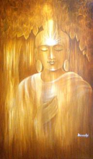 Golden Buddha - 24in X 36in ,ART_VH06_3624,Acrylic Colors,Buddha,Artist Vishwanadh, Museum Quality - 100% Handpainted