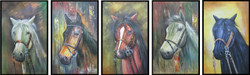 5 Good Luck Horses Rajmer04(Multipiece)(Border Framed) - 60in X 24in(Details Inside),RAJVEN34_6024,Acrylic Colors,Horses,Graces,Race,Achiever,Racing - Buy Paintings online in India