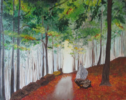 Tree Way - 20in X 16in,ART_SNSH04_2016,Canvas,Artist Shirin Shaikh,Greenery,Tree,Nature, - Buy Paintings Online in India