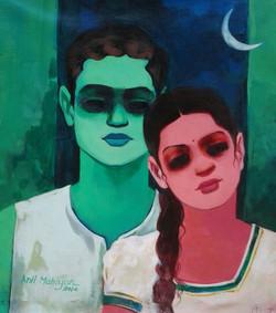 Couple - 17in X 19in,ART_ALMN34_1719,Artist Anil Mahajan,Love,Couple - Buy Online Paintings in india