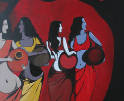 Distance - 22in X 18in (Canvas Board),ART_PTGU02_2218,Acrylic Colors,Artist Prasenjit Guru ,Woman ,Girls Crowd,- Buy Paintings Online in India