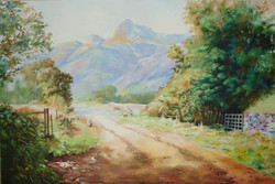 On the Way - 36in X 24in (Stretcher Framed),ART_UABY09_3624,Oil Colors,Artist Uma Bairy,Greenery,Mountain,Village,Ships,Home - Buy Paintings Online in India