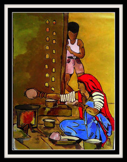 rajasthani paintings,At The Kitchen - 17in X 23in (Border Framed),ART_PHME04_1723,Artist Paresh More,Lady Cooking Food,Rajasthani Lady,Female,Women - Buy Online painting in india