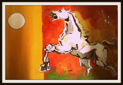 Horse And Moon - 29in X 21in (Border Framed),ART_PHME15_2921,Artist Paresh More,Horse,Horses,Race- Buy Online painting in india