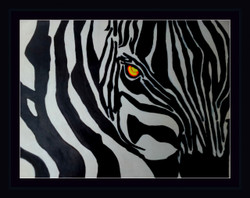 Abstract Zebra - 19in X 15in (Border Framed),ART_PHME17_1915,Artist Paresh More,Wild Animal,Zebra,Black And White - Buy Online painting in india