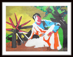 Daily Work - 22in X 17in (Border Framed),ART_PHME24_2217,Artist Paresh More,Work,Charkha,Making Cloth - Buy Online painting in india