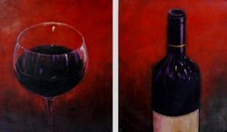 WineLover - 48in X 32in,FIZ038_4832,Red, Pink, Orange,120X80,Still Life Art Canvas Painting Buy canvas art painting online for sale by fizdi.com in India