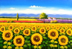 Beauty of Nature 10 - 36in X 24in,ART_PIAA86_3624,Artist Preeti Arora,Sunflower,Garden Of Sunflower,Canvas,Nature,Beauty of nature,Fresh Morning- Buy Paintings Online in India