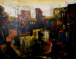 Landscape Art 4 - 20in X 16in,ART_KAPL86_2016,Kankana Paul,Museum Quality - 100% Handpainted Abstract City ,building- Buy Paintings online in india